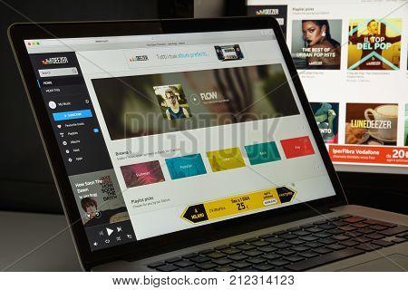 Milan, Italy - August 10, 2017: Deezer Website Homepage. It Is An Internet-based Music Streaming Ser