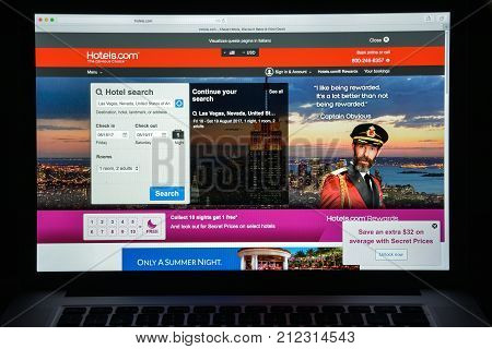 Milan, Italy - August 10, 2017: Hotels.com Website Homepage. It Is A Website For Booking Hotel Rooms