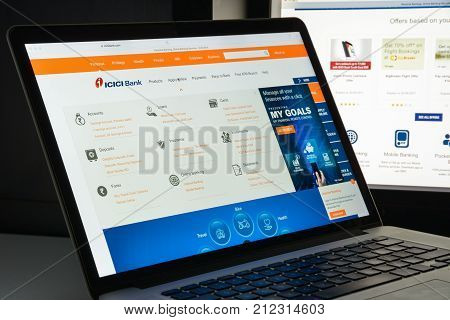 Milan, Italy - August 10, 2017: Icici Bank Website Homepage. It Is An Indian Multinational Banking A