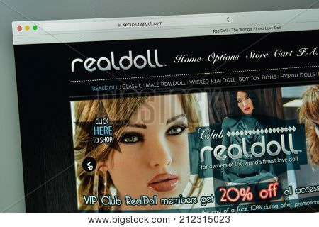Milan, Italy - August 10, 2017: Realdoll Website Homepage.  Logo Visible.