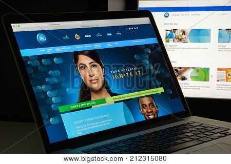 Milan, Italy - August 10, 2017: Procter And Gamble Website Homepage. It Is An American Consumer Good