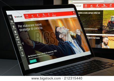 Milan, Italy - August 10, 2017: Unicredit Bank Website Homepage. It S An Italian Global Banking And