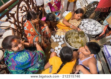 KOLKATA WEST BENGAL INDIA - 13 MAY 2017: Foods being prepared for devotees after worshipping Lord Hanuman known as Hanuman ji in India. The holy food is called 'Prasad