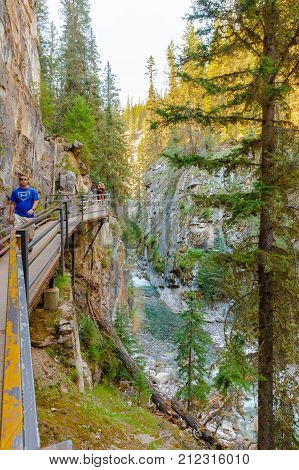 Banff August 2015 In this no rain season touristd walk along the johnston creek near Banff to admire the small canyon built by the river.