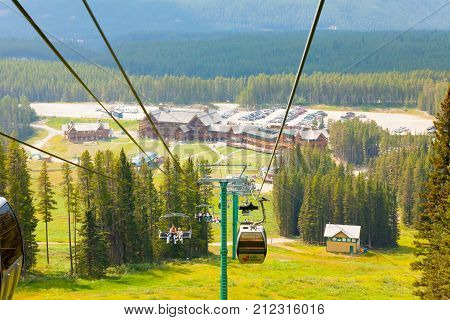 Lake Louise August 2015 Lake louise gondola in Banff National Park. In this month tourist take the cable car or the chair lift to enjoy the scenery of the Canadian Rockies mountains.