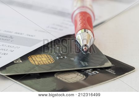 document monthly of credit card for check payment to bank