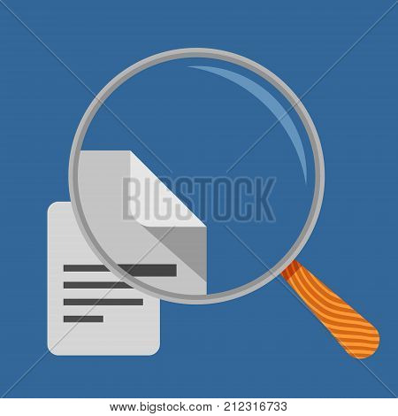Magnifying glass and document icons, search concept vector illustration