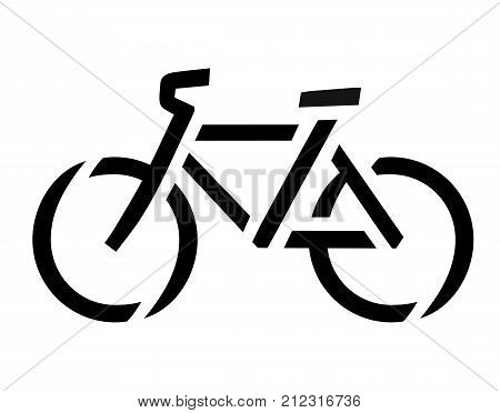 Stencil bike symbol, road asphalt or tarmac surface sign, vector bicycle icon