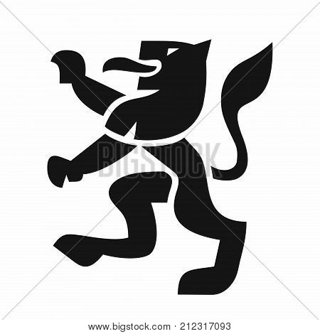 Heraldic lion in a modern style, black shape vector illustration on white background