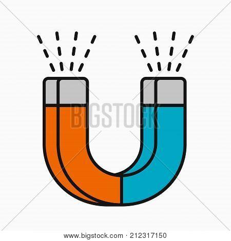 Horseshoe magnet vector illustration isolated on white background