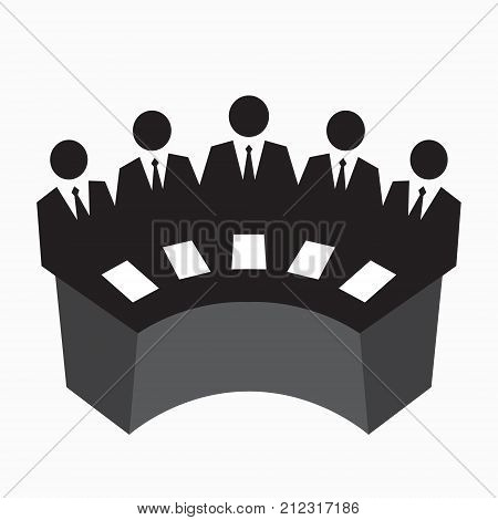 Collegium icon, judging, row of men in suits at the table, business team concept, vector illustration