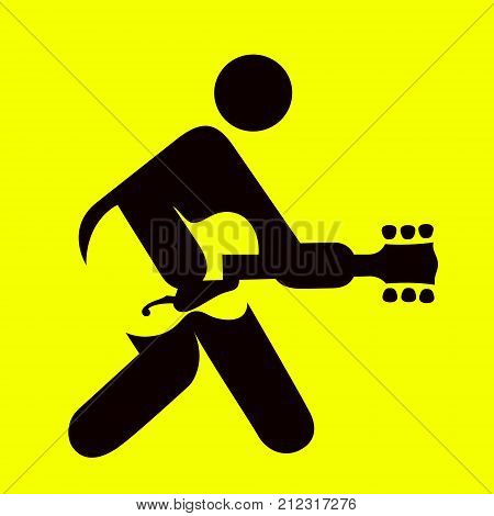 Man playing guitar sign, guitarist icon , rock and roll music symbol