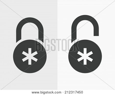 Combination lock icons in a flat style for web design, password or code, locked and unlocked. Closed and opened padlock with a dial signs. Concept security, symbol of privacy