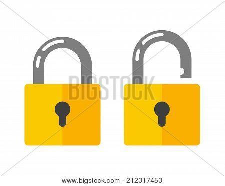 Open and closed padlock. Lock icon in flat style vector illustration on white backgriund. Security symbol, sign unlocking, access, password for Web, app, UI