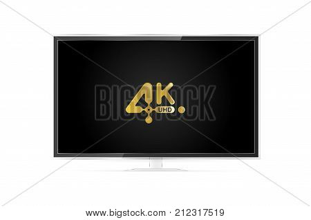 4K Uhd Realistic Tv Screen In Modern Style On White Background. Flat Vector Illustration Eps 10