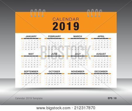 Calendar 2019 template layout. Orange business brochure flyer. print media