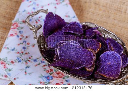 Potato Chips Made From Purple, Red And Yellow Potatoes