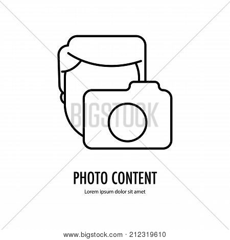 Photo content icon. Avatar for photografer Line logo isolated on the white background. Vector illustration.