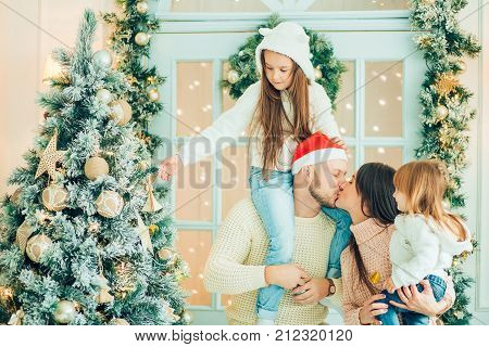 Christmas Family Portrait, Kids And Baby At Santa Hat With Present,