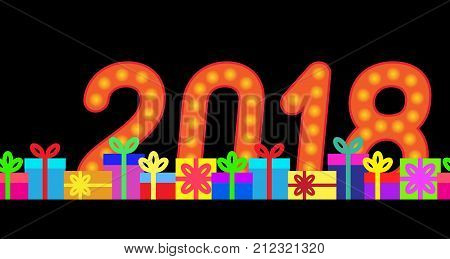 2018 and gift boxes on a dark background. Vector illustration.