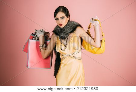 Girl In Yellow Dress, Boa With Bag And Gift Pack.