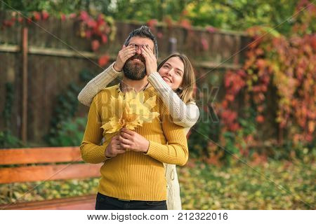 Autumn Happy Couple Of Girl And Man Outdoor.