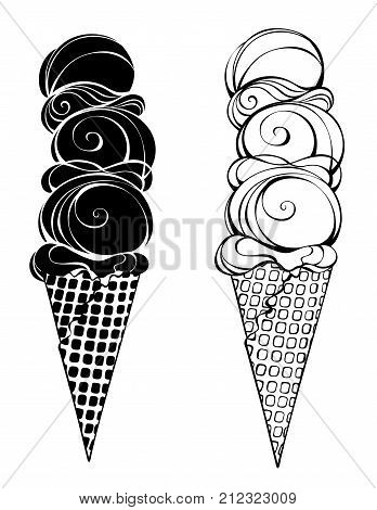 Two contour stylized ice cream with waffle horn and three balls on a white background. Artistic drawing of an ice cream.
