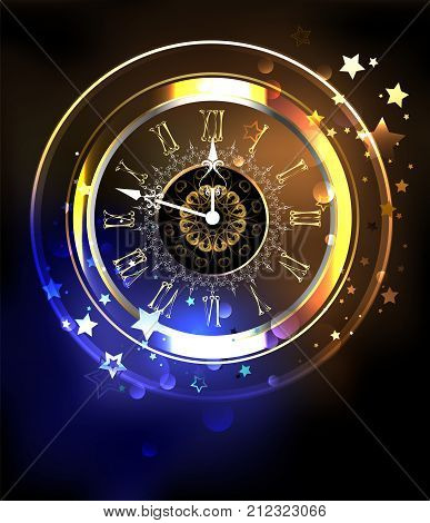 Luminous antique clock on a cosmic yellow and blue background with stars. Antique clock. Design with stars.