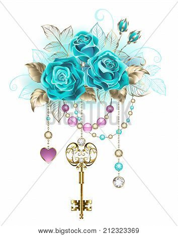 Antique gold key with trendy turquoise roses decorated with leaves of white gold and pink and blue beads. Fashionable color. Turquoise roses. White gold. Blue tiffany.