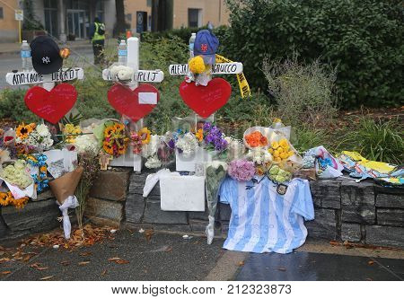 NEW YORK - NOVEMBER 5, 2017: Wooden cross tributes were placed along the bike path for each of the eight victims killed in the terror attack at makeshift memorial at site of lower Manhattan