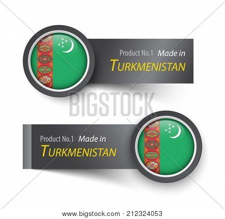 Flag Icon And Label With Text Made In Turkmenistan