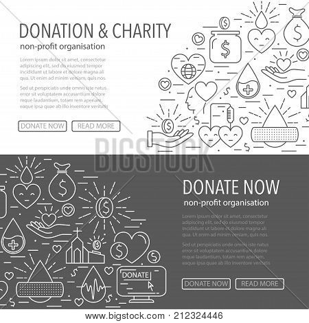 Donation banner template from line icons. Horisontal banner with different donation linear style elements on gray and white background. Donation blood and money, charity concept. Vector illustration