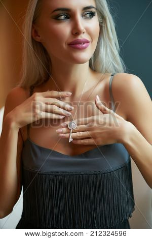 Blonde Woman Beautiful Girl With Long Hair Studio Portrait