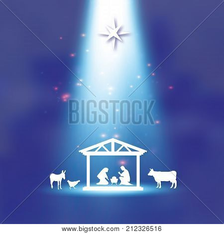 Birth of Christ. Baby Jesus in the manger. Holy Family. Magi. S Star of Bethlehem - east comet. Nativity Christmas graphics design in paper cut style. Star light. Vector illustration.