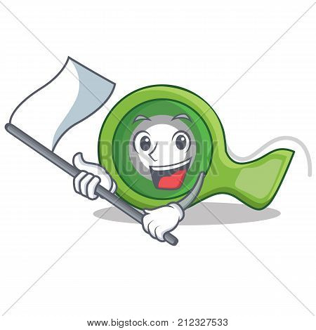 With flag adhesive tape character cartoon vector illustration