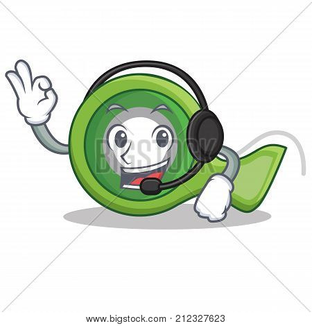 With headphone adhesive tape character cartoon vector illustration