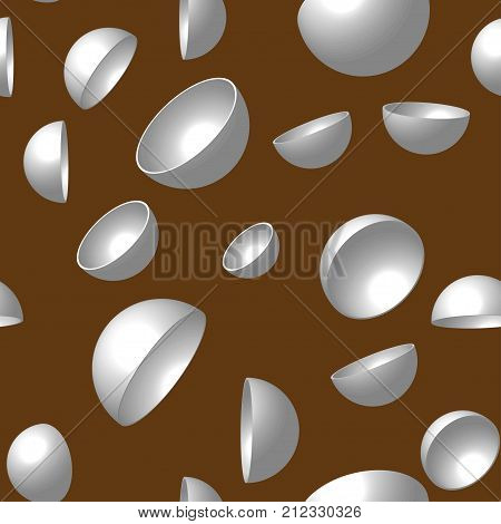 Gray Hemispheres on Brown Background, Vector Seamless Pattern