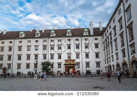 Vienna,  Austria - August 16, 2017:  The Imperial Treasury  at the Hofburg Palace in Vienna. It contains a collection of secular and ecclesiastical treasures. Courtyard