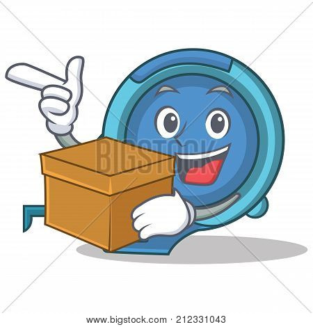 With box tape measure character cartoon vector illustration