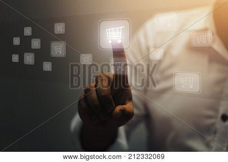 Businessman pushing shopping cart / soft focus picture / Vintage concept