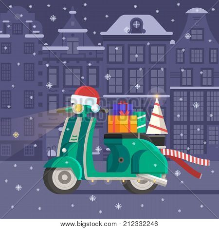 Winter bike with New Year tree, red scarf and gift boxes. Festive background with decorated motorbike on snowy Europe city landscape. Christmas scooter card template.