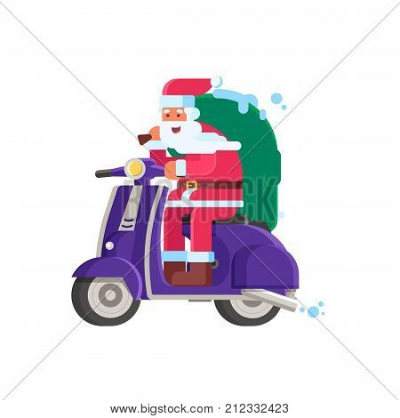 Cartoon Santa Claus with gift bag riding winter scooter. Christmas motor bike with Father Frost delivering presents vector illustration isolated on white background.