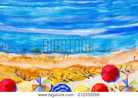 Painting watercolor seascape Top view colorful of lovers family summer holiday and tourism in summery multi colored umbrella sea wave blue background. Painted Impressionist abstract image illustration.