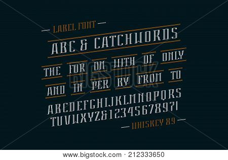 Decorative italic serif font and catchwords. Letters and numbers design for logo label and title. Print on black background
