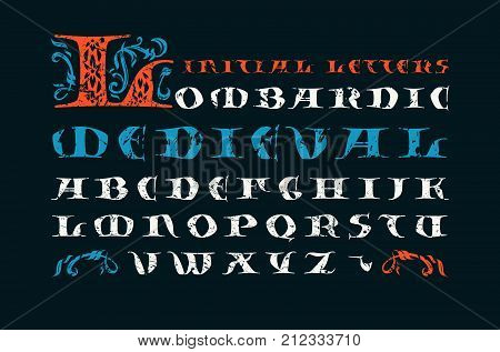 Lombardic medieval capital font. Initial letters with rough texture for logo and monogram design. Print on black background