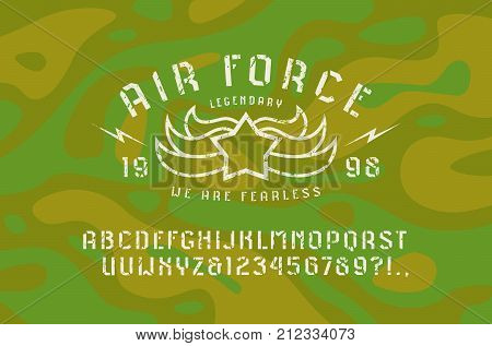Stencil-plate sans serif font and air force emblem. Letters and numbers with rough texture for logo and t-shirt design. Print on camouflage background