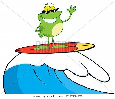 Surfing Frog Riding A Wave Cartoon Character poster