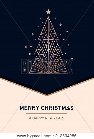Merry Christmas and Happy New Year rose gold greeting card. Minimalistic christmas card on navy blue background. Linear Christmas tree with stars and snowflakes. Vector illustration