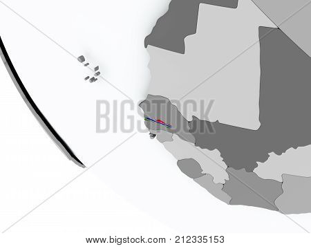 Flag Of Gambia On Political Globe