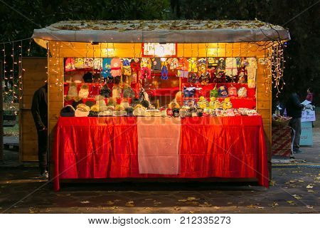 CHIANCIANO TERME, ITALY - NOVEMBER 4, 2017: Kiosk in the Christmas market of Acqua Santa park in Chianciano Terme, Winter time